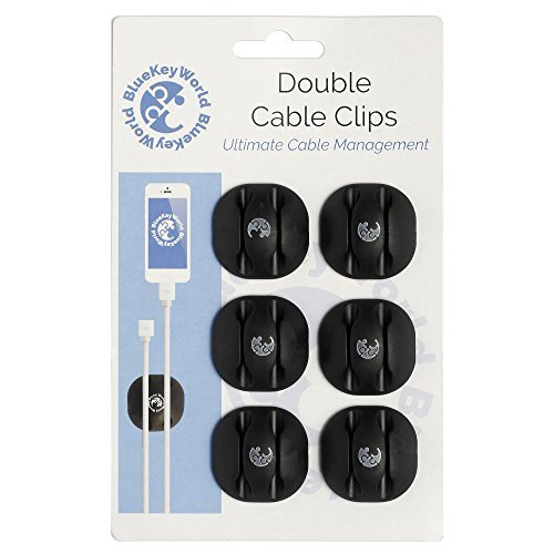 Cable Management, Cord Organizer and Cord Management System from Blue Key World - Looking for a Gift? Great For You, Your Family and Friends - Cable Holder For All Wires,, 6 Pcs, Black