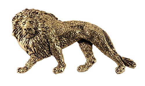Wildlife Pin (Creative Pewter Designs, Pewter Lion Full Body Handcrafted Wildlife Lapel Pin Brooch, 24k Gold Plated, MG102FPR)