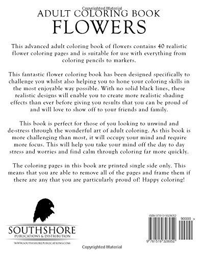 amazoncom adult coloring book flowers advanced realistic flowers coloring book for adults advanced realistic coloring books volume 6 9781519328052