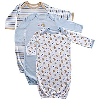 Luvable Friends Unisex 3 Pack Cotton Gown, Blue Puppy, 0-6 Months