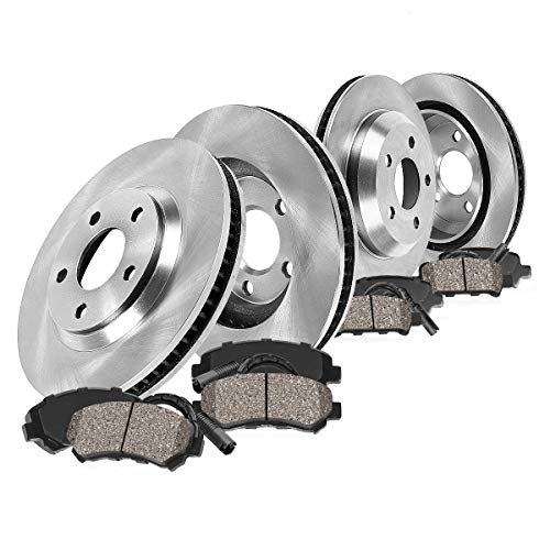 FRONT 330 mm + REAR 305 mm Premium OE 5 Lug [4] Rotors + [8] Ceramic Brake Pads + Clips + Sensors ()