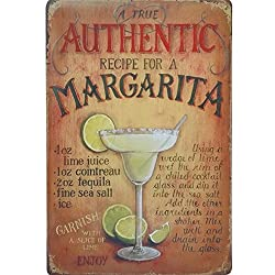 AUTHENTIC MARGARITA COCKTAIL Metal Tin Neon Sign Vintage Plaque Decor PLate Alcohol Wine Board for Music Pub Bar