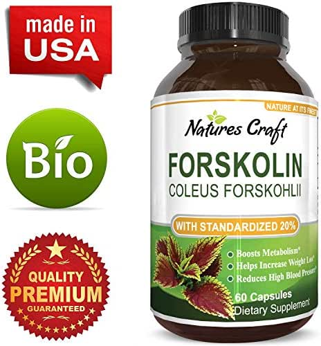 Natures Craft Forskolin Extract Supplement for Weight Loss Natural Diet Pills 60 Capsules