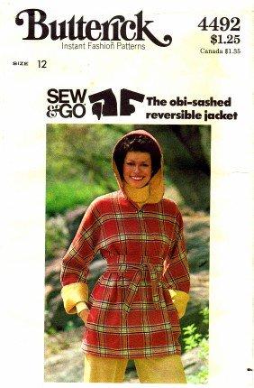 Butterick 4492 Sewing Pattern Wrap Jacket Reversible Obi Sash Size 12 - Bust 34 (Reversible Obi)
