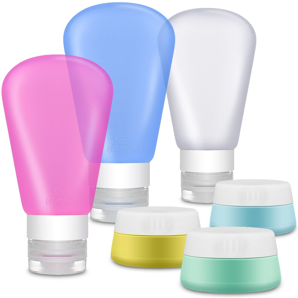 Portable Soft Silicone Travel Set - IHUIXINHE 6 Refillable TSA Approved 60ml Silicone Travel Bottles and 20ml Silicone Cream Jar for Liquids - BPA Free for Shampoo, Conditioner, Lotion, Toiletries