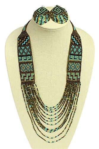 """Handmade"" NE722-131 Native American Design Mesa Classic Necklace & Earrings Glass Beads Magnet Clasp Artisan Made from ""Handmade"""