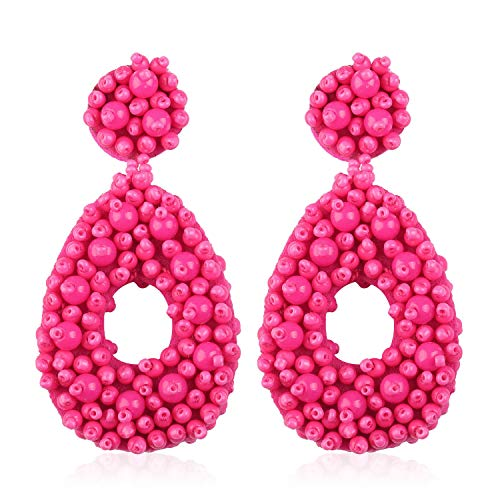 Statement Beaded Hoop Earrings for Women Girl Handmade Bohemian Round Dangle Dangling Lightweight Fashion Beach Studs Ear Jewelry Accessories Gift for Her Wife with Gushion Present Box GUE127 Hot Pink
