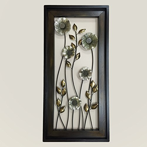METAL Wall ART Wood Framed FLOWERS Mirrors Home Decor Large Vertical Artwork Gorgeous Beautiful Copper Gold Silver Espresso Unique Elegant 40