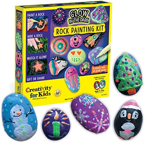 Creativity for Kids Glow In The Dark Rock Painting Kit – Paint 10 Rocks with Water Resistant Glow Paint – Crafts for Kids