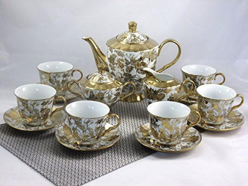 17 Pieces Porcelain Tea Coffee Cup Set
