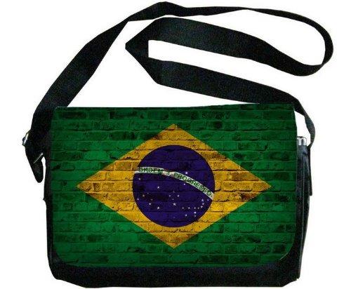 ブラジル国旗レンガ壁デザインメッセンジャーバッグ   B00F1YBYMS