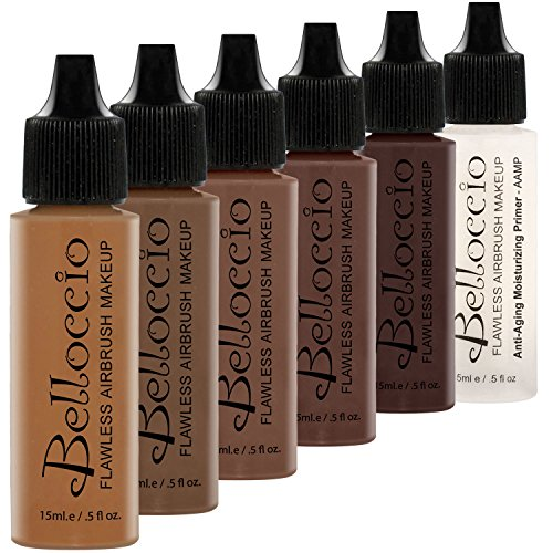 Belloccio Dark Color Shade Airbrush Makeup Foundation Set – Professional Cosmetic Airbrush Makeup in 1/2 oz Bottles