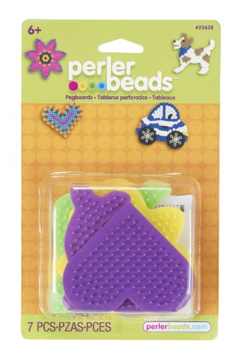 Perler Beads Multicolored Dog, Daisy, Dolphin, Car and Heart Pegboards, -