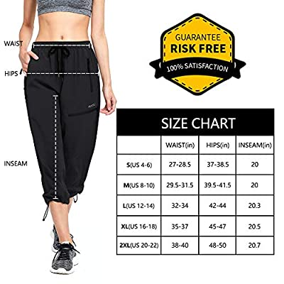 MOCOLY Women's Cargo Hiking Pants Elastic Waist Quick Dry Lightweight Outdoor Water Resistant UPF 50+ Long Pants Zipper at Women's Clothing store