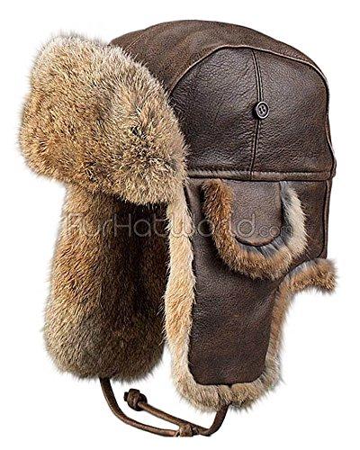 Vintage Rodeo Leather Rabbit Fur Aviator Hat - 2XL