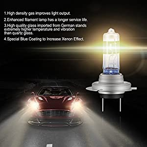 AGPTEK H7 Halogen Xenon Headlight Bulbs, Upgrade Ultra Bright for Car Motorcycle, 2 Pack