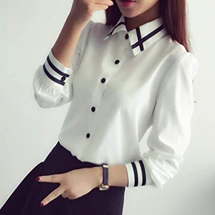 Coner Moda Femenina Elegante Corbata de moño Blusas Blancas ...