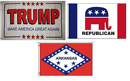 ALBATROS 3 ft x 5 ft Trump White #2 with Republican with State of Arkansas Set Flag for Home and Parades, Official Party, All Weather Indoors Outdoors