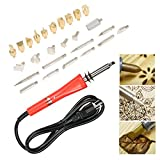 Artist Hand Tool Wood Burner Set with Pattern Stencil 3 Type Replaceable 25 Tips Creative Decoration Wood Texture Design Kit for Electronic soldering, Engrave work, Project Art Creative Hobby Craft.