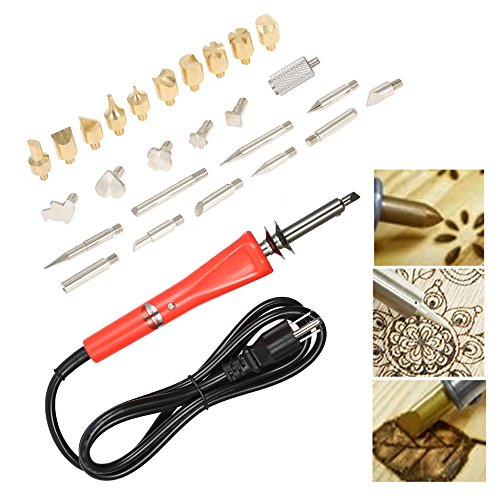 Artist Hand Tool Wood Burner Set with Pattern Stencil 3 Type Replaceable 25 Tips Creative Decoration Wood Texture Design Kit for Electronic soldering, Engrave work, Project Art Creative Hobby Craft. by MOJIWING