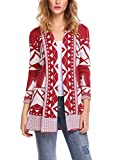 Bulges Women's Open Front Long Sleeve Patchwork Knit Sweater Cardigan