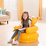 Cartoon Creative Inflatable Air Sofa Kids Chair - Household Toddlers Children,Animal Bear and Tiger Shape,Cute Inflatable Sofa Seat Suitable for Home or Backyard (Yellow - Bear)
