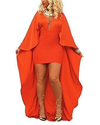 Womens Deep V Neck Evening Prom Party Dress Solid Color Bat Hem Irregular Dresses Orange XL
