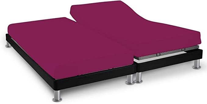 Image ofSoleil d'Ocre 616822 Sábana algodón ajustable para cama , uni Violeta, 2x70 x 190 cm