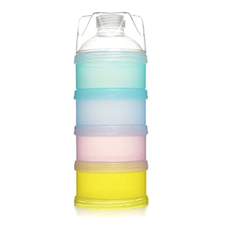 Sin Derrames Dispensador de Leche en Polvo para Lactantes, Caja de Leche en Polvo Botella de Contenedor Portátil, Puede Apilarse 4 Capas de Viaje ...