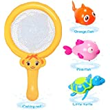 ALIKEY Baby Bath Toys,Pool Toys for Bath Fun Time,Fishing Net,Turtle,Two Fishs,Super Fun in Bathroom Pool Bath Time for 1 2 3 Year Girls and Boys Kids or Toddlers