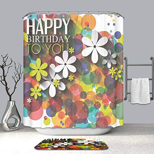 3d print Multi Style Shower curtain And bath mat Birthday Decorations  Vibrant Composition of Flowers Daisies Polka Dots Joyful Wish Feminine  Fabric