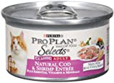 Purina Pro Plan Selects Adult Cat Food, Natural Cod and Shrimp Entrée, 3-Ounce Cans (Pack of 24), My Pet Supplies