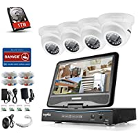 Sannce 8CH 720P Hybrid DVR with 10.1 Adjustable LCD Screen Monitor and (4) 1.0MP 1280TVL Weatherproof Security Camera System, View on Multiple Devices with Free Apps, Including 1TB Hard Drive