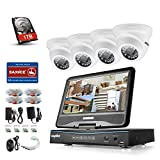 Sannce 8CH 720P Hybrid DVR with 10.1'' Adjustable LCD Screen Monitor and (4) 1.0MP 1280TVL Weatherproof Security Camera System, View on Multiple Devices with Free Apps, Including 1TB Hard Drive