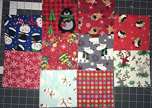 50 Flannel Christmas Squares ~ 5 x 5 inches~ Charm Pack
