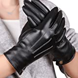 (US) Womens Touchscreen Texting Winter PU Leather Gloves Driving Outdoor Fleece Lining (8.5, Black)
