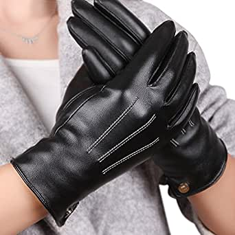 Womens Touchscreen Texting Winter PU Leather Gloves
