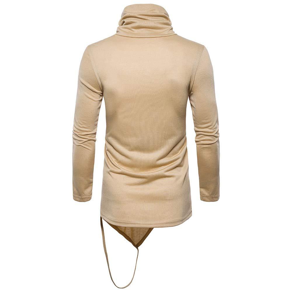 Mens Winter High Collar Pure Color Tops /& T-Shirt Men Blouse,Dartphew 2049
