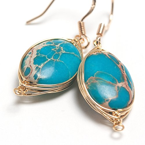 Sterling Silver Natural Coral - Scutum Craft 925 Sterling Silver Hook 14K Gold Plated Natural Impression Jasper Stone Herringbone Wire Wrap Earrings, Perfect Gifts for Best Friend