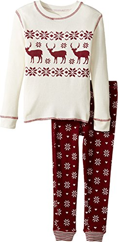 (P.J. Salvage Kids Unisex Snow Flake Thermal jammie Set (Toddler/Little Kids/Big Kids) Wine 4 US Little Kid)