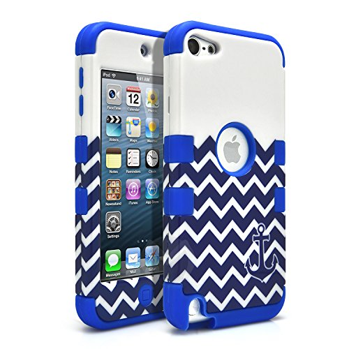 iPod Touch 6 Case, iPod Touch 5 Case, MagicMobile [Armor Shell Series] Hard Plastic Cover + Silicone Hybrid Case for iPod 5th Gen [Impact Shock Resistant] [Chevron Pattern Anchor Design White - Blue ]