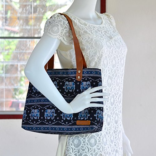 Bohemian / Handbags / Purses / Tote bags / Anniversary Gifts / Christmas Gift Ideas / Black / Blue Elephant by Pim Collection