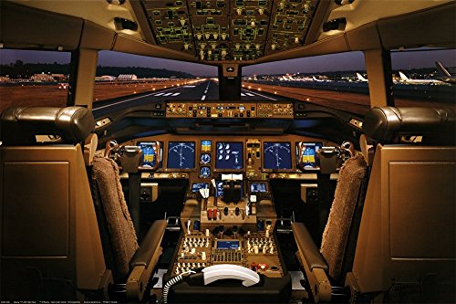 Laminated Boeing 777-200 Flight Deck Airplanes Jet Print Poster ()
