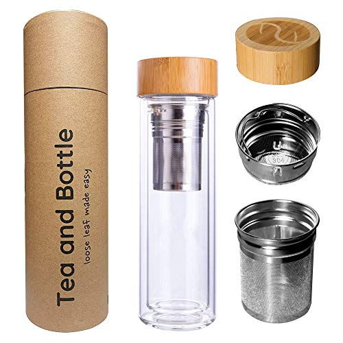 Tea and Bottle Premium Cold Brew Strainer Bottle (1 pack) | 450ml | Perfect for Cold Brew Tea!