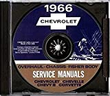 A MUST FOR OWNERS, MECHANICS & RESTORERS - THE 1966 CHEVROLET REPAIR SHOP & SERVICE MANUAL CD INCLUDES: Biscayne, Bel Air, Impala, Super Sport, Chevelle, Malibu, SS 396, El Camino, Chevy II, Nova, and Corvette. CHEVY 66