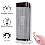 Electric Space Heater - 750W/1500W Fast Heating Oscillating Heater w/Remote Control, Thermostat, Auto Shut Off Protection, Tip over Switch, Portable Indoor Ceramic Heater for Family Personal
