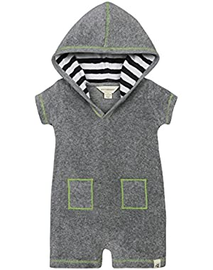 Baby Boys' Hooded Organic V-Cut Shortall