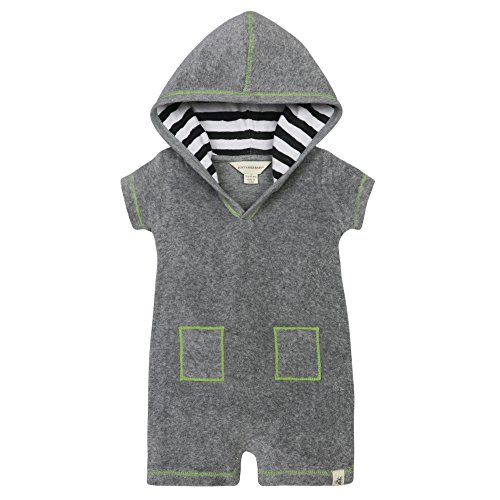 Burt's Bees Baby Baby Boys' Hooded Organic V-Cut Shortall, Heather Grey Knit Terry, 12 Months