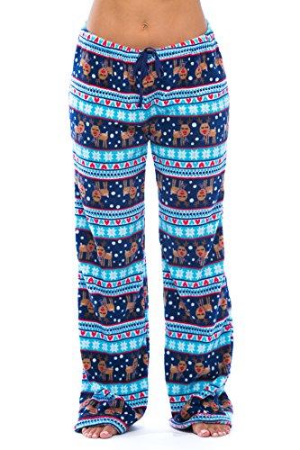 6339-10129-1X Just Love Women's Plush Pajama Pants - Petite to Plus Size Pajamas,Navy / Aqua - Reindeer Fairisle,1X Plus
