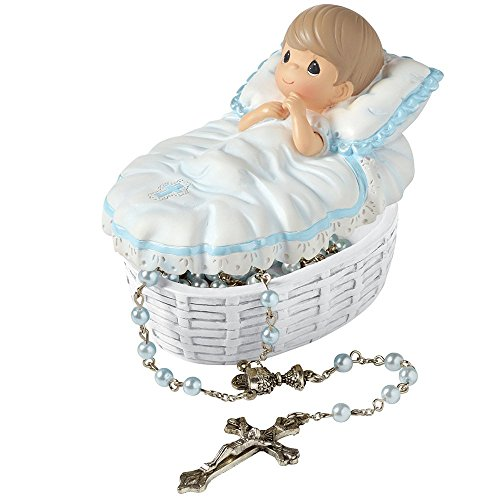 Precious Moments, Baptized In His Name Resin Box With Rosary, For Boy, 153407 (Moments Covered Precious Box)